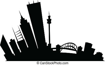 Cartoon Sydney - Cartoon skyline silhouette of the city of...