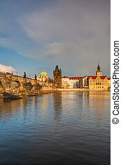View from   Kampa on the famous Charles Bridge at spring sunset. HDR Image