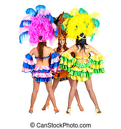 dancer team wearing carnival costumes dancing