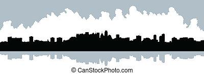 Mississauga Skyline - Skyline silhouette of Mississauga,...