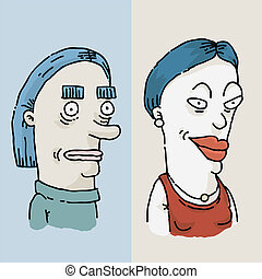 Makeover Woman - Before and after cartoon of a woman's...
