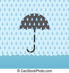 Rain Flood Umbrella - Umbrella behind rain storm and above...