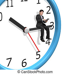 Man sitting on clock hands white background