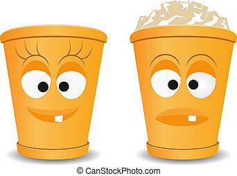 Orange fun recycle bins