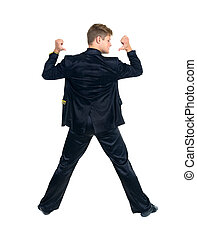 Disco dancer showing some movements, isolated on white...