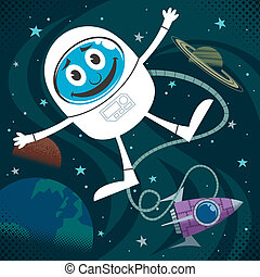 Space Fun - Cartoon illustration of astronaut in outer...