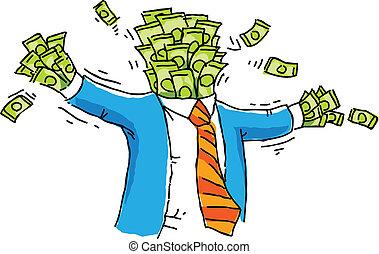 Money Man - A cartoon businessman made out of money.