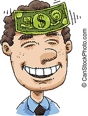 Cash on Forehead - A cartoon man enjoys the feeling of cash...