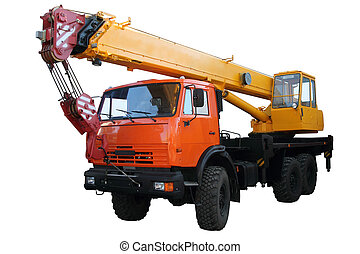 Truck crane isolated on white background