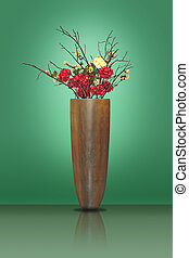 Flowers in a big vase - Red and yellow flowers in a large...