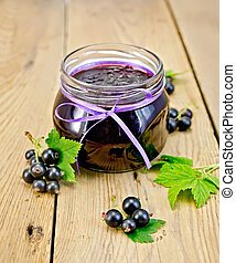 Jam blackcurrant on the board - Black currant jam in a glass...