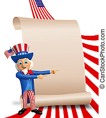 Uncle Sam with sign - 3d rendered illustration of Uncle Sam...