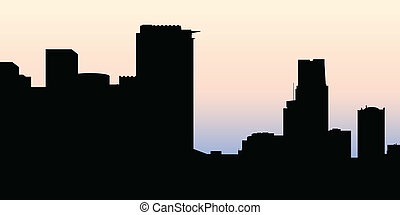 Montreal Skyline - Skyline silhouette of the city of...