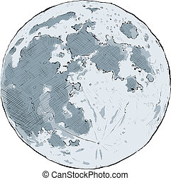 Full Moon - Cartoon illustration of the full moon