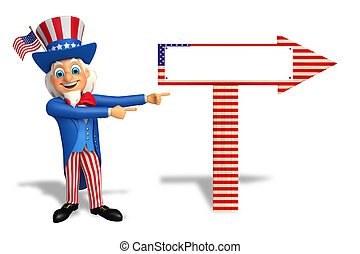 Uncle Sam with wooden arrow - 3d rendered illustration of...