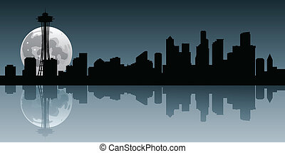 Seattle Moonrise - A full moon rises behind the skyline of...