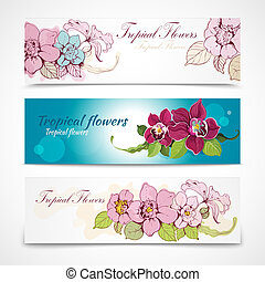 Tropical flower banners - Colorful tropical hand drawn and...