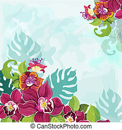 Tropical flower background - Colorful tropical pink purple...