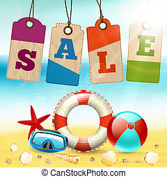 Summer sale wallpaper - Summer holidays life saver ball sea...