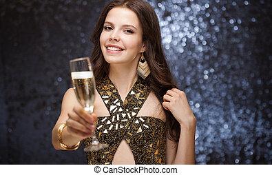 Festive brunette. - Portrait of a sensual gorgeous festive...