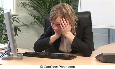 Business Woman Bored in the office - Stock Video Footage of...