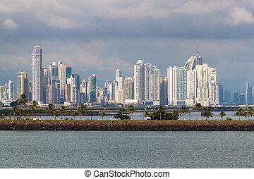 Panama city - White skyscrapers in Panama from the sea