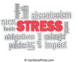 3d imagen concept wordcloud illustration of work stress