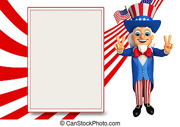 Uncle Sam with victory sign - 3d rendered illustration of...