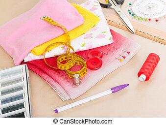 coloridos, tecidos, Cosendo, acessórios