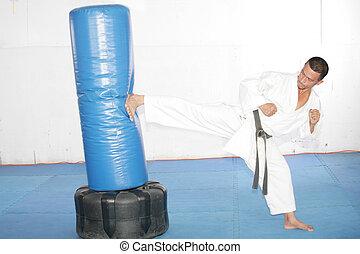 Black belt Karate man practicing in a sandbag