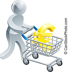 Person pushing trolley with euro sign - A person pushing a...