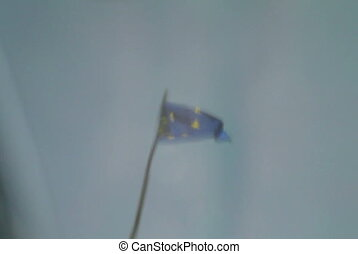 European Union Flag reflected in p - Reflection of European...