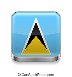 Metal icon of Saint Lucia - Metal square icon with flag...
