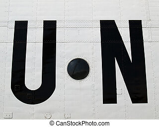 United Nations - The United Nations sign on the board of the...
