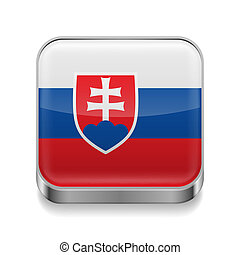 Metal icon of Slovakia - Metal square icon with Slovakian...
