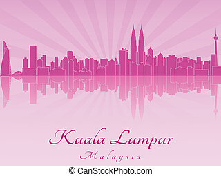 Kuala Lumpur skyline in purple radiant orchid