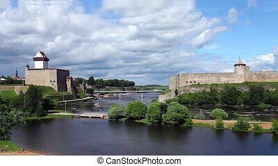 view fortress of Narva and Ivangoro - fortress Narva and...