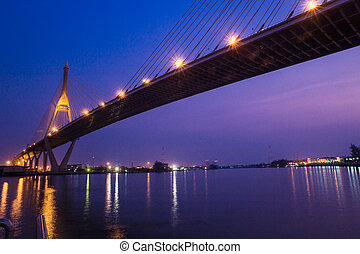 Bridge at night of Bangkok, Thailand. - Bridge at night of...