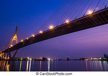 Bridge at night of Bangkok, Thailand - Bridge at night of...