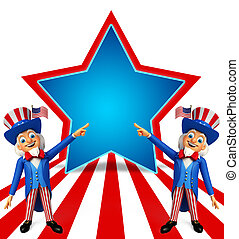 Uncle Sam with guitar - 3d rendered illustration of uncle...