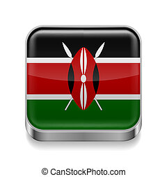 Metal icon of Kenya - Metal square icon with Kenyan flag...