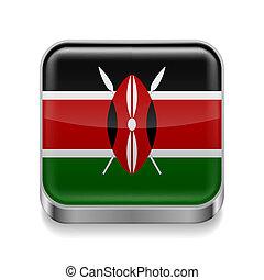 Metal icon of Kenya - Metal square icon with Kenyan flag...