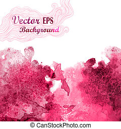 Vector wave in watercolor technique.Grunge background.Drop red a