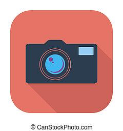 Icon vintage camera. - Vintage camera. Single flat color...