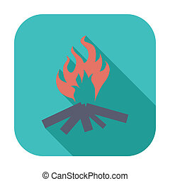 Bonfire Single flat color icon Vector illustration