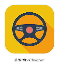 Car Steering Wheel icon. - Car Steering Wheel. Single flat...
