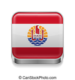 Metal icon of French Polynesia - Metal square icon with flag...