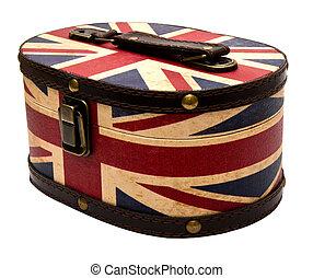 box with UK flag isolated on white background