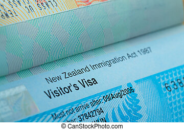 Passport stamp visa for travel concept background, New...