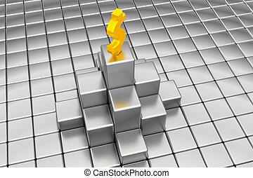 dollar sign on the top of silver cubes